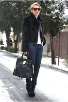 Topshop jacket - Miss Kg boots - Michael Kors bag