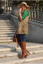 H&M blouse - Mango boots - new look bag - Zara vest
