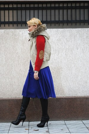 H&M skirt - Christian Louboutin boots - River Island vest