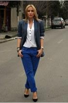 blue Diesel jeans - black Zara shoes - charcoal gray H&M blazer