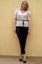 black Christian Louboutin shoes - neutral H&M blouse - black H&M pants - H&M nec