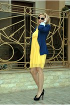 yellow H&M dress - navy Zara blazer
