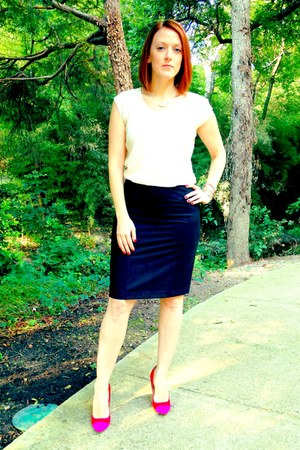 red cap toe shoemint pumps - black pencil skirt The Limited skirt