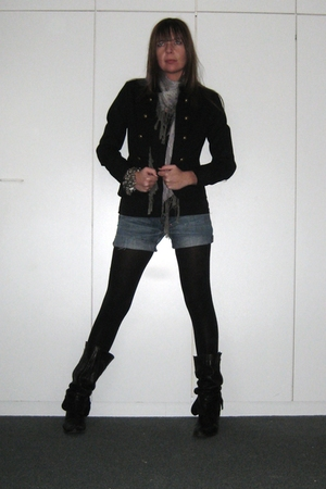 black H&M tights - black unknown boots - black H&M jacket - gray Sfera scarf - b