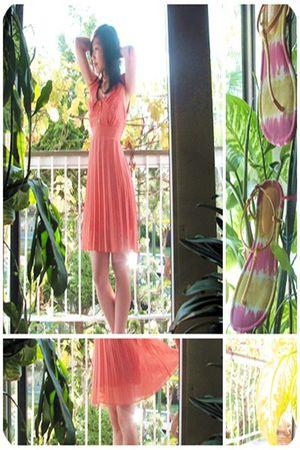 orange Thrift Store dress - yellow Spring accessories