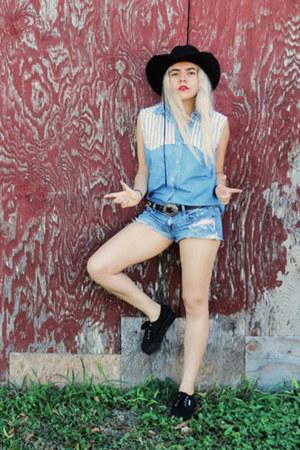 black Superga shoes - black thrifted hat - sky blue shorts