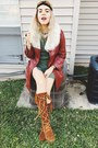 Burnt-orange-minnetonka-boots-brick-red-vintage-leather-coat