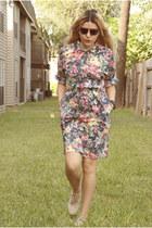 beige shoes - navy dress