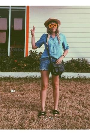 black bag - camel hat - sky blue shorts - gold glasses