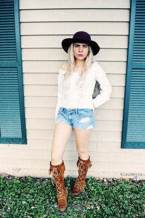 black hat - burnt orange Minnetonka boots - sky blue shorts