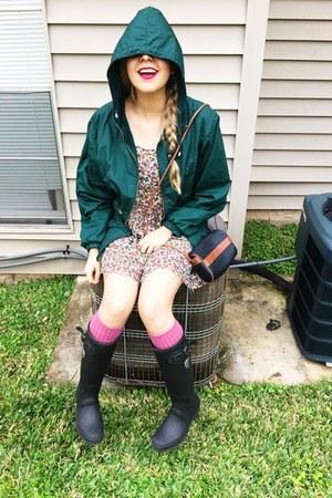 bubble gum thrifted vintage dress - black kamik boots