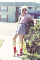 ruby red socks - navy REV shorts - black thrifted vintage sunglasses