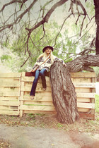 brown mexican hat hat - brown vintage sas shoes - navy jeans