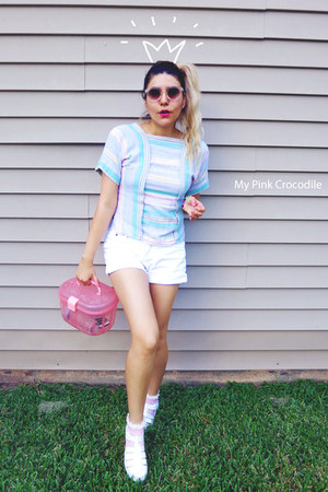 white shorts - light pink socks - bubble gum thrifted vintage blouse