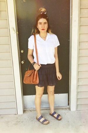 white blouse - burnt orange mexican purse - navy American Eagle skirt