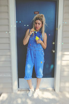 white JuJu sandals - sky blue blouse - sky blue thrifted vintage jumper