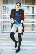 ruby red wool Vintage Ralph Lauren coat - sky blue shorts - black socks
