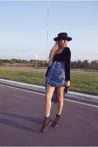 sky blue vintage dress - black Dr Martens boots - black hat