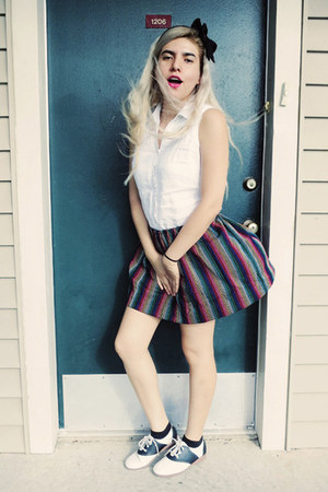 black skirt - white saddle shoes - white thrifted vintage blouse