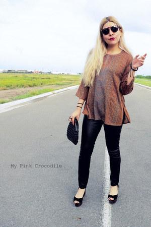 brown blouse - black thrifted vintage purse - black thrifted vintage sunglasses
