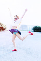 white sunglasses - white t-shirt - red Jelly sandals - sky blue skirt