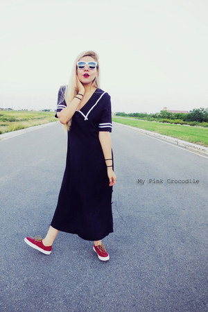 ruby red Vans shoes - navy thrifted vintage dress - white sunglasses