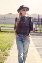 crimson Heidi sweater - cream Easy Spirit shoes - sky blue Levis jeans