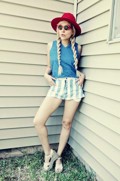 red hat - sky blue shorts - red sunglasses - sky blue blouse - beige heels