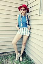 red hat - sky blue shorts - red sunglasses - sky blue blouse - beige heels