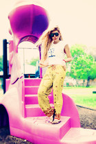 black sunglasses - white t-shirt - chartreuse pants