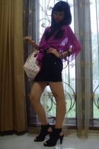 Mango purple see-thru silk bolero - Louis Vuitton pink monogram bag - dress - Be