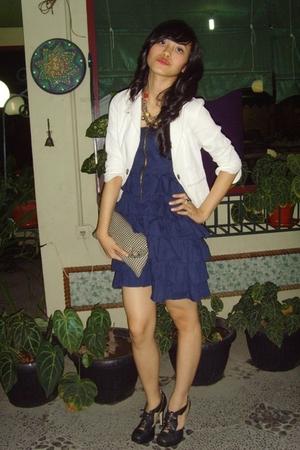 black Topshop shoes - - blue dress - white blazer - gold necklace