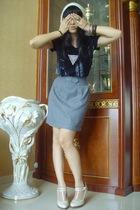 Topshop t-shirt - vintage skirt - Red Herring white t-bar platform - forever 21