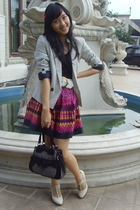 Mango stripes blazer - H&M printed skirt - Red Herring t-bar platform - Mango bl