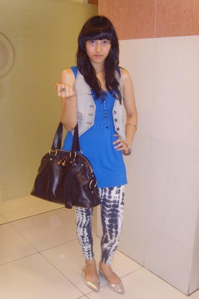 YSL Black Bag - Topshop Blue top - Gaudi Grey Jean Vest - forever 21 accesories