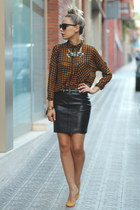 faux leather h&m divided skirt - chiffon Bershka shirt - Pull & Bear necklace
