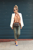 Ebay blazer - purificación garcía bag - Queens Wardrobe top - Lefties heels