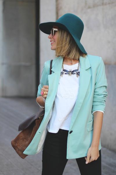 Sheinside blazer - Georgia Rose bag - pull&bear necklace