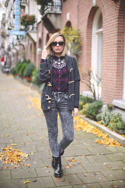 Zara necklace - alpe boots - Derett sunglasses - H&M blouse