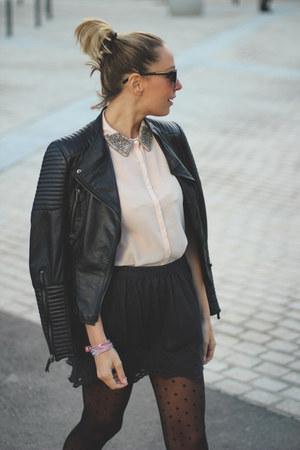 Niza shirt - swarovski bracelet - Miss Hamptons flats - Pull & Bear skirt