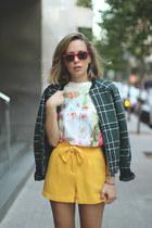 Pull & Bear jacket - pepa loves shorts - Sheinside t-shirt