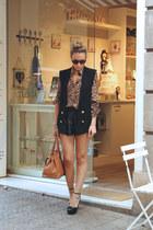 Zara vest - Queens Wardrobe shirt - Lusstra bag - Oysho shorts