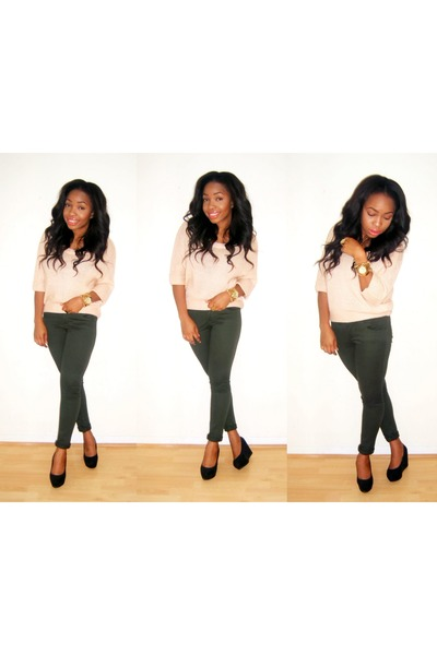 green asos jeans - neutral Topshop top - black H&M wedges