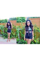 black Topshop shorts - carrot orange asos shoes - black Primark top