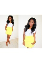 yellow Zara skirt - carrot orange Zara heels - white H&M t-shirt