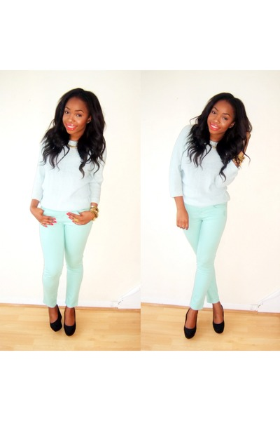 sky blue Zara jeans - light blue Zara sweater - black H&M wedges