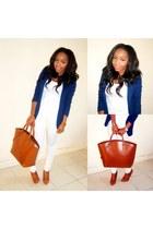 white H&M jeans - navy Primark blazer - tawny Zara bag - white H&M t-shirt