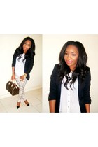 white River Island blouse - off white H&M jeans - black H&M blazer