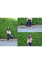 Zara bag - H&M jeans - color block Zara heels - floral print Primark blouse