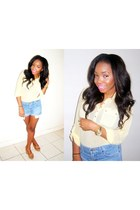 light blue vintage levis shorts - light yellow Primark blouse